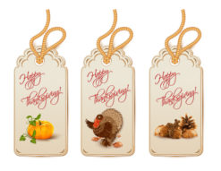 vector thanksgiving shopping tags Vector Illustrations floral