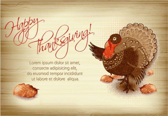 vector thanksgiving illustration with turkey 2015 02 02 389