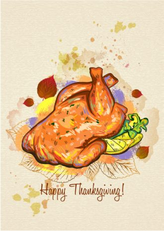 vector thanksgiving illustration with cooked turkey Vector Illustrations floral