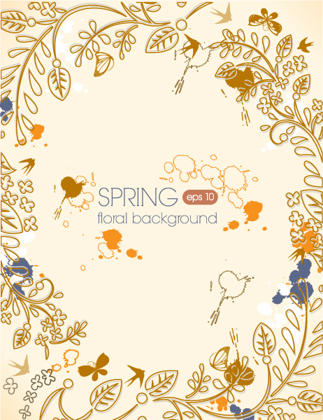spring vector illustration with butterflies Vector Illustrations floral