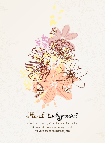 Lovely Floral Vector Art: Floral Vector Art Background With Floral Elements 1