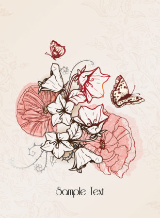 floral vector background with floral elements and butterflies Vector Illustrations old