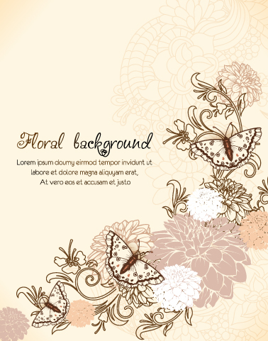 Buy Splashes Vector Graphic: Floral Vector Graphic Background With Floral Elements And Butterflies 1