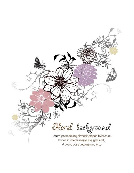 Floral, Flower Vector Design Floral Vector Background  Floral Elements  Butterflies 1