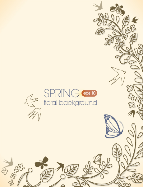 Gorgeous Floral Vector Background: Floral Vector Background Background With Floral Elements And Butterflies 1