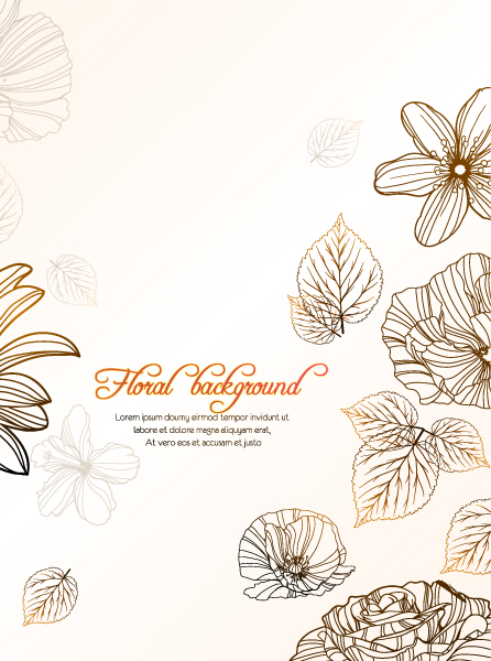 Trendy Leaves Vector Image: Floral Vector Image Background With Floral Elements 1