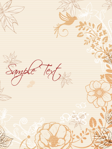 Gorgeous Line Eps Vector: Floral Eps Vector Background With Floral Elements 1