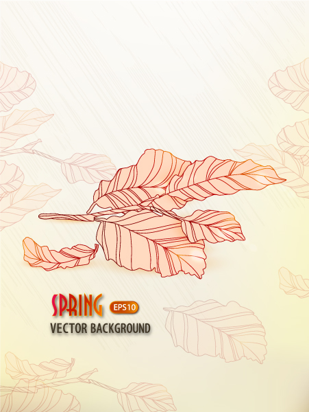 floral vector background with leaves Vector Illustrations old