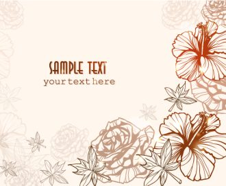 floral vector background with roses Vector Illustrations old