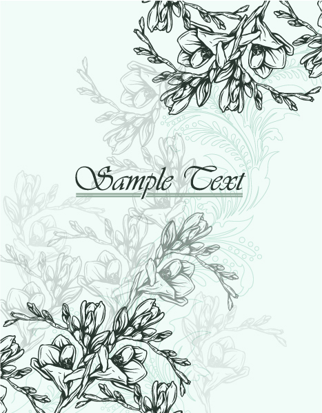 floral vector background with freesia Vector Illustrations old
