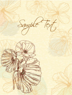 floral vector background with poppy Vector Illustrations old