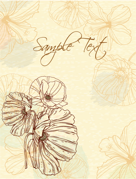 floral vector background with poppy 1