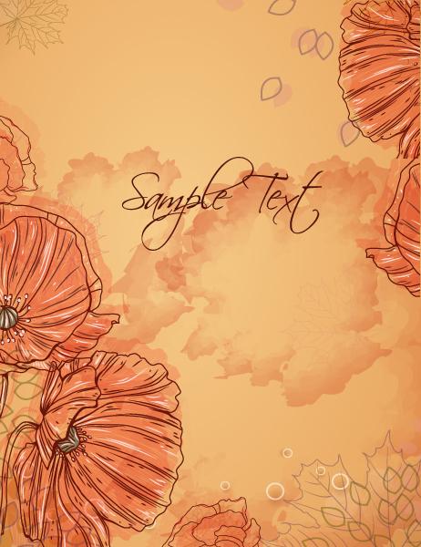 Vintage-2 Vector Art Floral Vector Background  Poppy 1