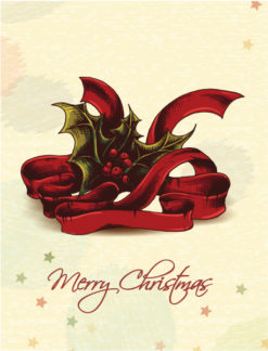 Christmas vector illustration with ribbon and holly berry Vector Illustrations old