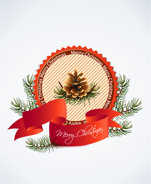 Christmas vector illustration with label 2015 02 02 577