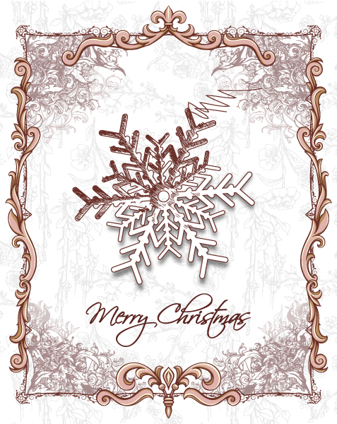 Unique Invitation Vector Image: Christmas Vector Image Illustration With Snow Flake 5