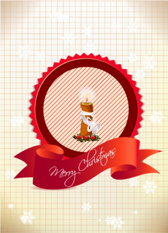 Christmas vector illustration with label and candle Vector Illustrations old