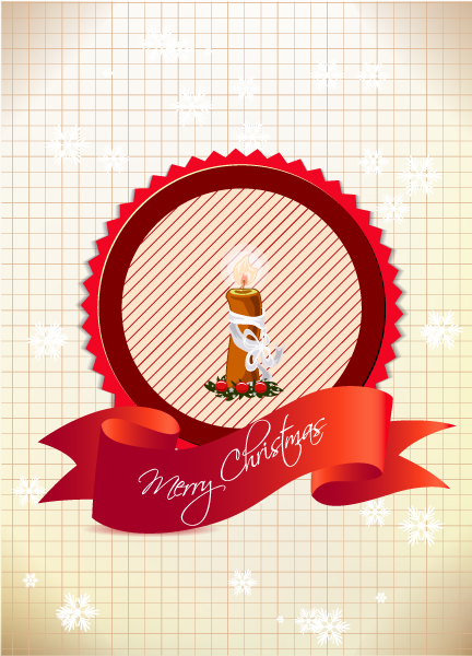 Surprising Invitation Vector Art: Christmas Vector Art Illustration With Label And Candle 5