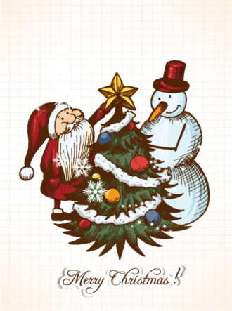 Christmas vector illustration with santa and snow man Vector Illustrations star