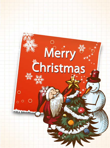 Christmas vector illustration with sticker 5