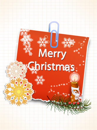 Christmas vector illustration with sticker Vector Illustrations old