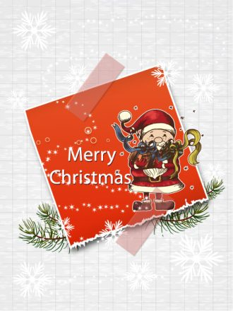 Christmas vector illustration with sticker and candle Vector Illustrations old