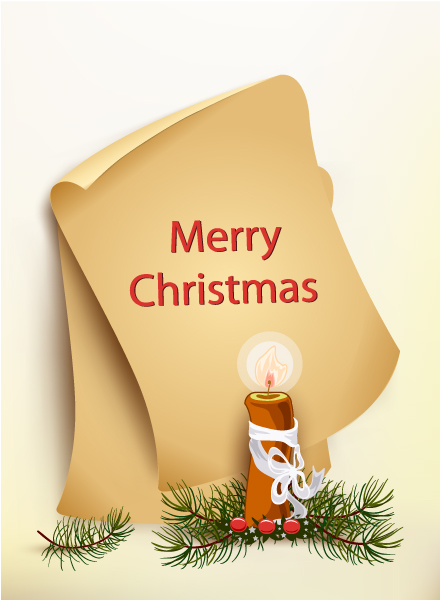 Smashing Old Vector Image: Christmas Vector Image Illustration With Old Paper And Candle 5