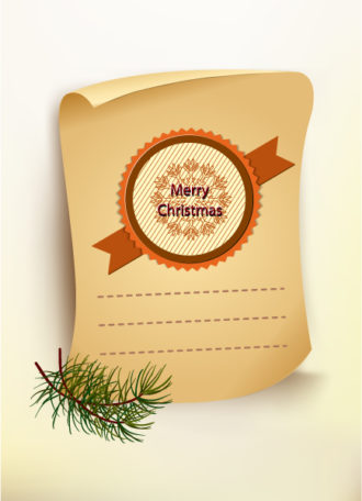 Christmas vector illustration with old paper Vector Illustrations old
