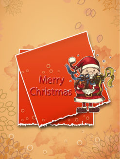 Christmas illustration with sticker Vector Illustrations old