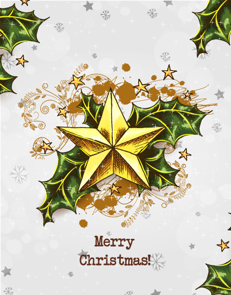 Bold Christmas Vector Art: Christmas Vector Art Illustration With Christmas Star And Holly Berry 5