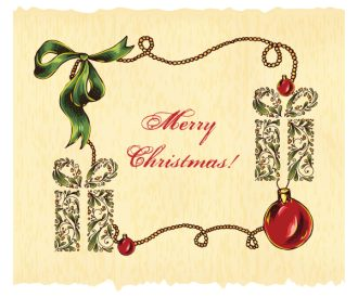 christmas vector illustration with gift and frame Vector Illustrations star