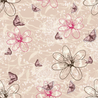 vector seamless floral background with butterflies Vector Illustrations floral