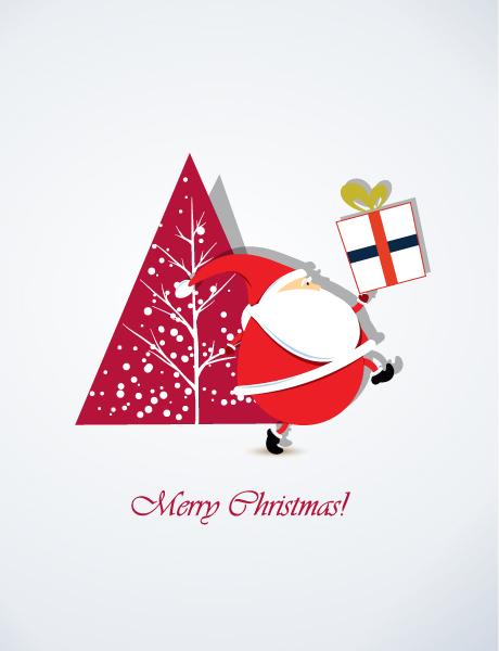 Illustration Vector Art: Christmas Vector Art Illustration With Santa Sticker And Christmas Tree 2015 02 02 629