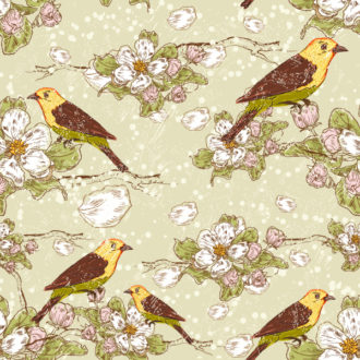 vector seamless floral background with birds Vector Illustrations floral