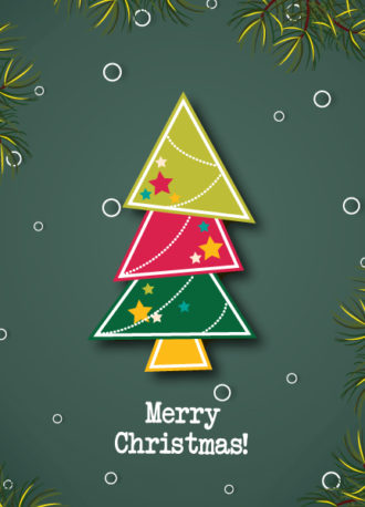 Christmas vector illustration with Chrismtas tree Vector Illustrations star