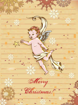 Christmas vector illustration with angel and snow flake Vector Illustrations vector