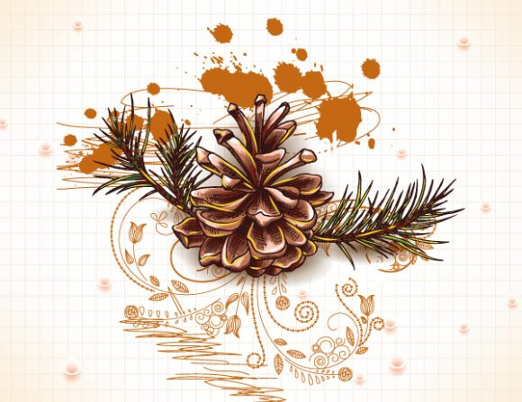 Christmas vector illustration with pine cone and fir Vector Illustrations vector