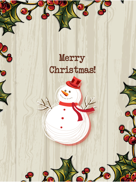 Exciting Man Vector Image: Christmas Vector Image Illustration With Snow Man And Holly Berry Frame 5