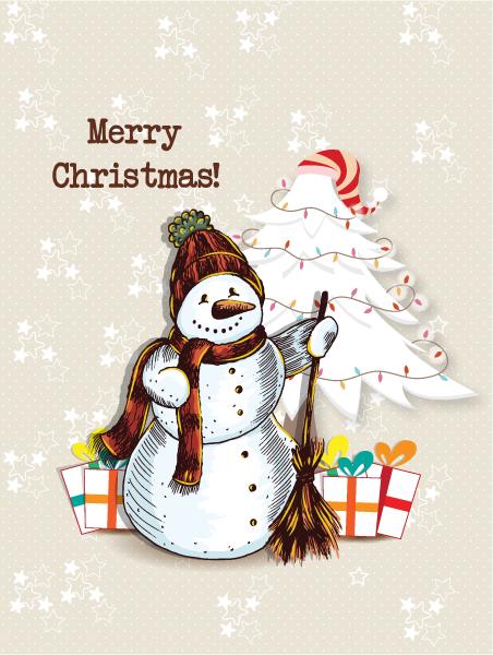 Tree, Snow, Abstract-2, Holiday, Illustration Vector Artwork Christmas Vector Illustration   Snow Man  Christmas Tree 5