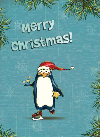 Christmas vector illustration with  penguin and fir frame Vector Illustrations star
