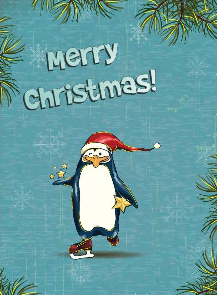 Creative Vector Art Christmas Vector Illustration   Penguin  Fir Frame 5