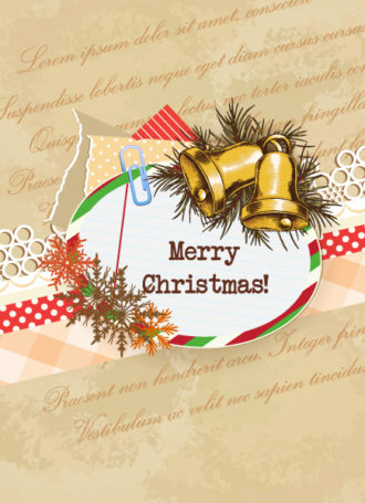 Christmas vector illustration with frame and  bells Vector Illustrations vector