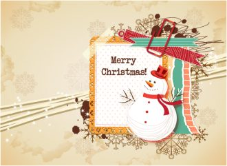 Christmas vector illustration with frame and snow man Vector Illustrations vector