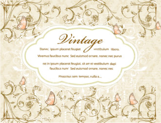 vintage floral background with label vector illustration Vector Illustrations old