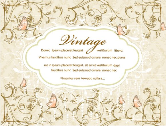 vintage floral background with label vector illustration Vector Illustrations old