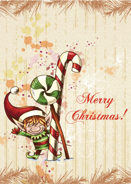 christmas vector illustration with elf and fir 2015 02 02 712