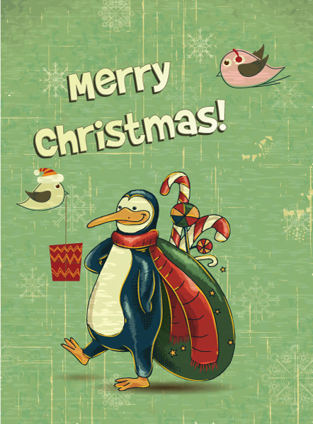 christmas vector illustration with penguins 2015 02 02 713