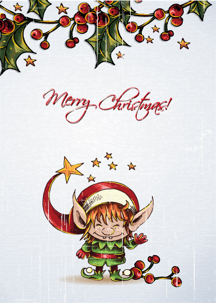 Christmas Vector Artwork: Christmas Vector Artwork Illustration With Elf And Cranberryes 2015 02 02 714