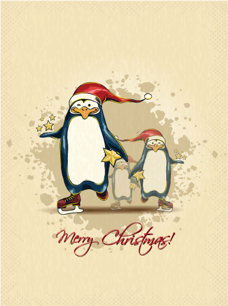 December, Penguins, Christmas Vector Art Christmas Vector Illustration  Penguins 5