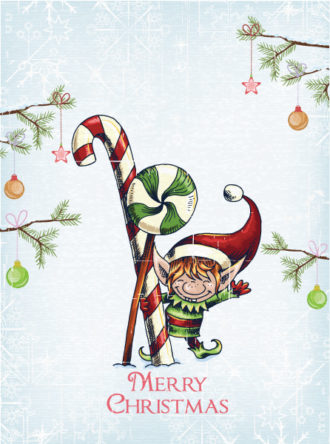 christmas vector illustration with elf and candy Vector Illustrations vector